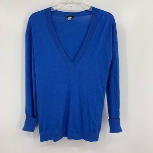 J. Crew Silk and Cashmere V-neck Blue Sweater